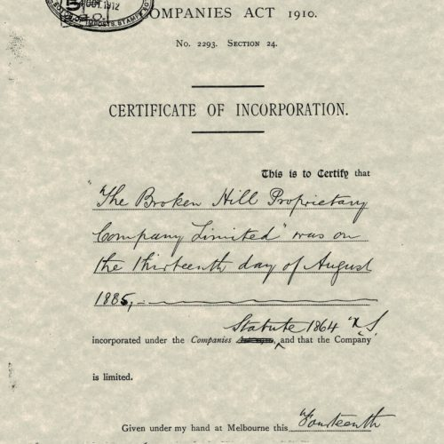 BHP Certificate of Incorporation